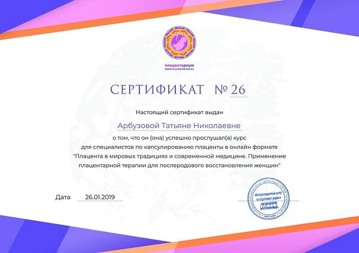 Сертификат капсуляция